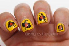 http://www.cosmeticsaficionado.com/bumble-bee-nail-art/  via @CosmeticsAficionado  bumble bee nail art, easy nail art, nail art for short nails, nails, nail art