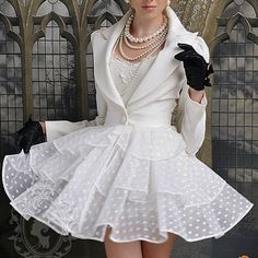 White tiered dress with Blazer style Top