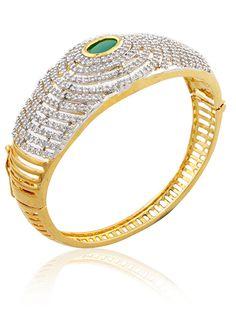 Openable Kada in american diamonds and emerald stone in two tone finish