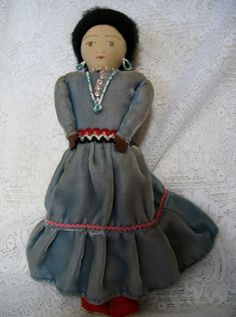 Vintage Cloth Doll Native American Handmade Beadwork from harveystreasures on Ruby Lane