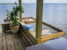 Dock hammock at the lake house. Lake Dock, Boat Dock, Lake Beach, Lakeside Living, Outdoor Living, Dock Hammock, Water Hammock, Deck Hammock Ideas, Water Bed