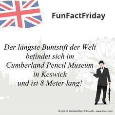 #FunFactFriday bei THE BRITISH SHOP: Der längste Buntstift der Welt befindet sich im Cumberland Pencil Museum in Keswick und ist 8 Meter lang!