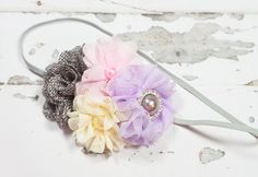 Precious Petite headband in lavender purple, baby pink, pale yellow and charcoal grey by SoTweetDesigns on Etsy