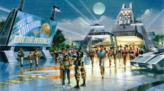 """Outside concept for Aliens 4-D attraction. """"Aliens War"""" was actually an attraction in London during the late 90s. It was like a haunted house tour but with aliens. It closed after it flooded."""
