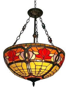 Create a warm and inviting display by hanging this beautiful Tiffany style lamp handcrafted with elegant glass pieces and pearls. #myrustica