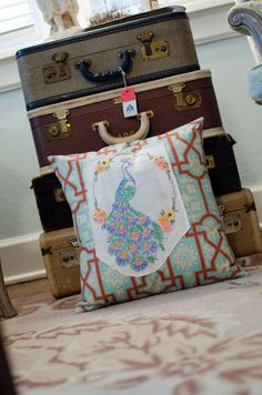 Whimsical Peacock Pillow Vintage via Etsy