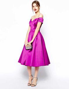 ASOS purple satin bardot dress