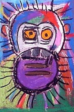 Monkey!  OH my gosh, I love this.  This was made by a 5 year old.  You could totally get your kids to do this.  Guided drawing and oil pastels!!!