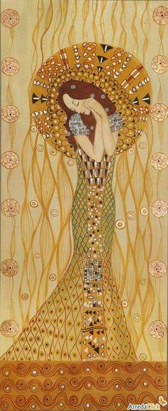"""by Gustav Klimt Austria """"detail from the beethoven frieze by klimt Gustav Klimt, Klimt Art, Art Nouveau, Kunst Online, Art For Art Sake, Love Art, Oeuvre D'art, Amazing Art, Modern Art"""