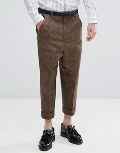 ASOS Drop Crotch Tapered Smart Pants In Wool Mix Brown Check - Brown