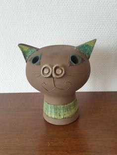 Vintage cat figure sculpture/ greenish retro by scandinavianseance