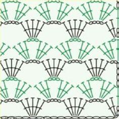 How to Crochet Wave Fan Edging Border Stitch - Crochet Ideas - Motivo ideale per maglietta Crochet Stitches Chart, Crochet Motifs, Crochet Borders, Crochet Diagram, Crochet Squares, Crochet Doilies, Knitting Patterns, Crochet Patterns, Skirt Patterns