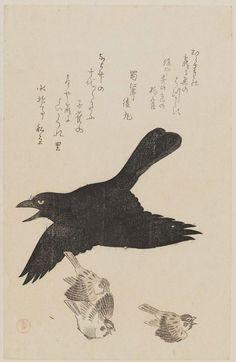 Kubo Shunman Raven and Sparrows. Woodblock print
