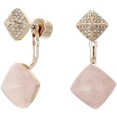 Michael Kors Blush Rush Semi Precious Pave Pyramid Stud Earrings (Rose... (653.370 IDR) ❤ liked on Polyvore featuring jewelry, earrings, accessories, joias, michael kors, gold, pyramid earrings, post earrings, rose gold dangle earrings and mint green earrings