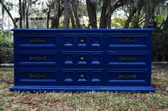 Custom Blue Lacquer Dresser SOLD by ALovelyRecovery on Etsy, $450.00 Vintage Furniture, Painted Furniture, Blue Dresser, Furniture Makeover, Entrance, Bedroom Ideas, Condo, Reading, Boys