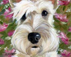 SPARROW Wheaten Scottish Terrier Scottie  dog  art painting Pink Flowers Blooms