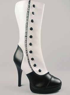 Hello beautiful. $60 #shoes #boots #spats #black #white #ruffle