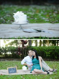 One Year Anniversary Session SivanPhotography.com (This would be cute in Tahoe on the beach!)! Just need a cute blanket, and two cupcakes. Two straws and a banner. Reuse?, not reuse wedding banner? See other pin/s. Add our champagne flutes, champagne, a picture of us, or a #1, (maybe both?), our guest book. + balloons!! (Green, purple, gray theme still).