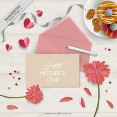 Day background Cute mère avec enveloppe rose