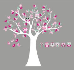 Kids Tree with 4 owls 7 birds and set of 6 FREE owls nursery vinyl wall decal
