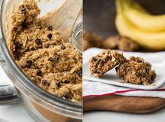 """COOKIES - banana """"muffin tops"""" - oats, bananas, coconut oil, dates, + frozen fruit (we like to add!). Kathleen likes a variation of cacao and nut butter"""