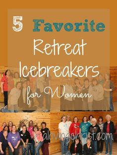 5 Favorite Retreat Icebreakers for Women Whether you're holding a retreat or a bible study, these 5 icebreakers for women will bring joy and laughter to your gathering. Plus, they all give the ladies a chance to know each other better. Fun Icebreakers, Icebreaker Activities, Group Activities, Leadership Activities, Women Empowerment Activities, Icebreaker Questions, Group Games, Party Activities, Ice Breakers For Women