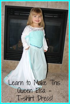 Frozen - Queen Elsa Ice Dress Tutorial - Make from a T-Shirt Yes if you can sew you can make this awesome dress for your little princess! Princess Elsa Dress, Frozen Elsa Dress, Disney Princess Dresses, Frozen Queen, Queen Elsa, Dress Up Outfits, Diy Dress, Dress Sewing, Shirt Dress