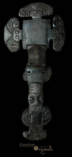 Anglo-Saxon 'florid' cruciform brooch, copper-alloy, of the 6th century AD. Pinned from an auction website, allegedly from an old collection. The rivet holes below the bow suggest that it was once broken and repaired.