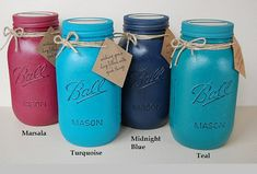 Teal Turquoise Midnight Blue Marsala Vintage Look Mason Jar Personalized Coin Bank by NewRetroCottage
