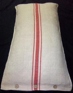 Red Striped European Grain Sack Pillow.  Repinned by www.mygrowingtraditions.com