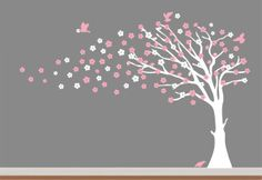 White Cherry Blossom Tree with Pink by NurseryWallArt on Etsy, $79.99