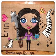 Large Jute Bag - personalised & hand painted Measures H340 x W410 x D170mm Get yours at www.facebook.com/oakbridgedesignni