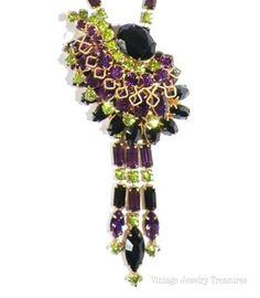 LOVE! Vintage High End Green Purple Black Rhinestone Gold Necklace Unusual Design $129