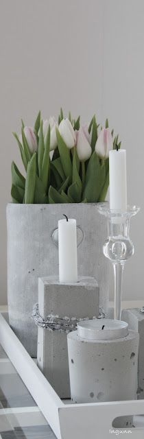 We're on a cement kick! Love these cement candle holders for your Candle Impressions Flameless Tapers