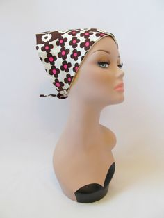 Vintage 1960s Brown and Pink Mod Floral Head Scarf by PerfectlyPoshVintage, $15.00