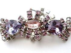 High End Purple Pink Rhinestone Bracelet Runway Silver