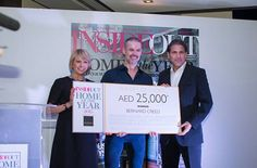 Sharon Parsons, winner Bernard Creed and Khurshid Vakil at Inside Out Home Of The Year awards 2015. #HOTY #HomeoftheYear #MarinaHomeInteriors - See more at: http://insideoutmagazine.ae/features/in-pictures-home-of-the-year-awards-2015-party-1.1600596#sthash.iXbwwIVZ.dpuf