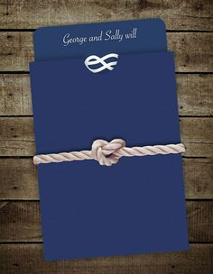 Simple nautical themed wedding invites. tying the knot!