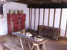 Southampton Medieval Merchant's House -Hall. originating in 1290  - Now restored to its mid-14th-century appearance by the removal of later additions, equipped with replica period furnishings.