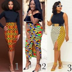 2 or ❤️💛💓 Weekend Style Inspiration 😍😍 African Beauty for True Claycombe.fond 👌🏽👌🏽🙌🙌Which Style is your favorite? African Pencil Skirt, African Print Skirt, African Print Dresses, African Dress, Pencil Skirts, African Prints, Ghana Fashion, Kimono Fashion, Skirt Fashion