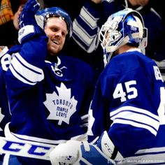 Phil Kessel & Jonathan Bernier (I'm just choosing random pics to post -- no idea what I'm doing right now. Hockey Live, Ice Hockey, Nhl, Phil Kessel, Maple Leafs Hockey, Field Hockey, Toronto Blue Jays, Toronto Maple Leafs, Home Team