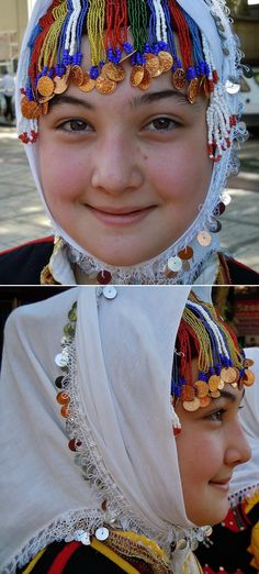 Young girl wearing a traditional festive headgear from the Göynücek district (southwest of Amasya). Clothing style: rural, ca. This is a recent workshop-made copy, as worn by folk dance groups. Folk Costume, Costumes, Folk Dance, Kerchief, Black Sea, World Cultures, Girls Wear, Headgear, Folklore