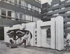 An original sculpture on the forecourt of Daubeney Tower. Circa 1966.