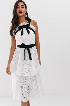 Shop the latest True Decadence premium contrast halter neck lace midi dress with bow detail and tiered skirt in white trends with ASOS! Free delivery and returns (Ts&Cs apply), order today! Lace Midi Dress, Ruffle Skirt, Peplum Dress, Dressed To The Nines, Dress With Bow, White Skirts, Halter Neck, Summer Dresses, Formal Dresses
