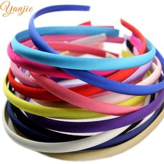 30 pçs/lote 15 cores 10mm Coloridas de Cetim Coberto Hairbands Resina, Para Meninas Do Bebê Faixa de Cabelo de Cetim Sólida DIY headband, headband de Cetim Cabeça Aro