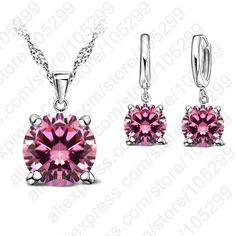 2017 Selling 925 Sterling Silver Jewelry Sets 4 Claws Cubic Zirconia CZ Pendant Necklace Earring Fashion Jewelry For Women SET Gems Jewelry, Jewelry Sets, Women Jewelry, Silver Jewelry, Fashion Earrings, Fashion Jewelry, Bracelet Set, Wedding Jewelry, Pendants
