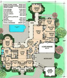 High End House Plans floor plan, main is 6900sq ft. -- 10,000 sq ft dream house floor