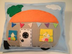 Feelin Campy Fun Camping Decor Handmade Vintage Airstream Camper Pillow  ON SALE NOW