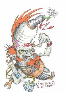 Vizman Joker Cartoon, Cartoon Art, Cool Car Drawings, Art Drawings, Engine Tattoo, Mechanic Tattoo, Graffiti Characters, 5 Anime, Rat Fink