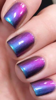 Purple Ombre Nails, Purple Nail Art, Purple Nail Designs, Acrylic Nail Designs, Nail Art Designs, Fabulous Nails, Gorgeous Nails, Pretty Nails, Crome Nails
